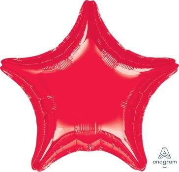 Anagram Folienballon Jumbo Stern 80cm Durchmesser Metallic Rot (Red)