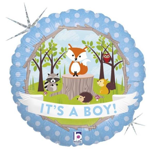 "Betallic Folienballon Woodland Baby Boy Holographic 46cm/18"""