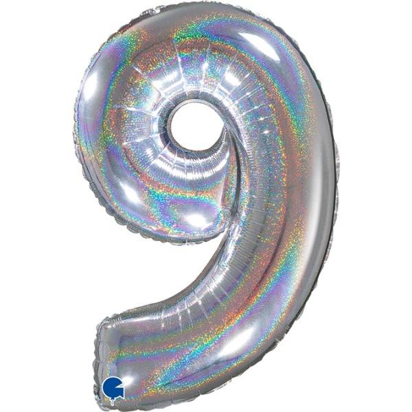 """Grabo Folienballon Zahl 9 Glitter Holographic Silver 66cm/26"""""""