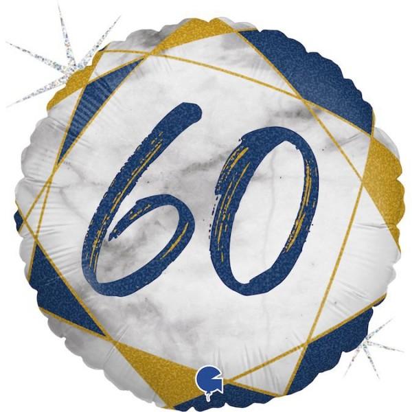 "Grabo Folienballon Marble Mate Zahl 60 Rund 46cm/18"""