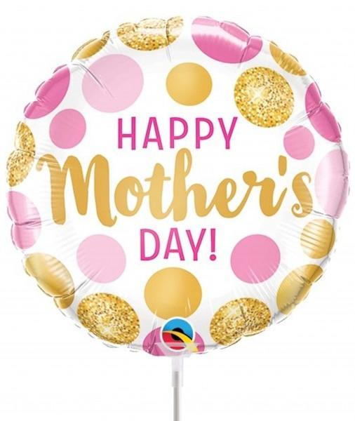 "Qualatex Folienballon Happy Mother's Day Pink & Gold Dots 23cm/9"" luftgefüllt inkl. Stab"