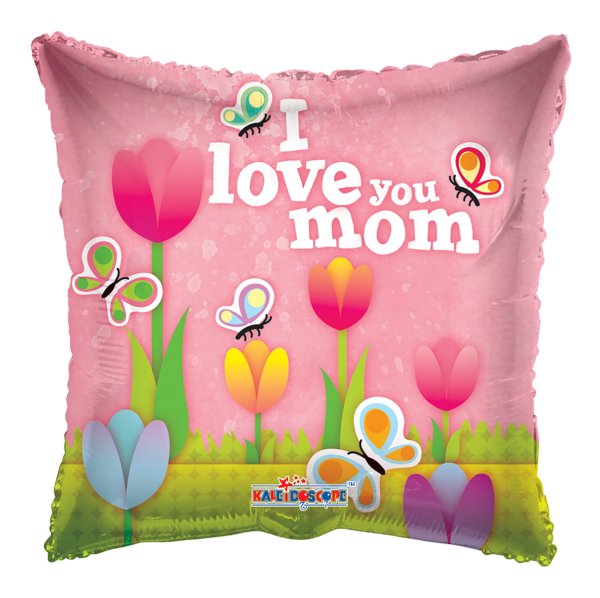 Kaleidoscope Folienballon I Love You Mom Tulpen 90cm/36""