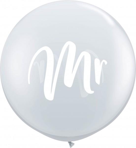 Qualatex Latexballon White Mr. Jewel Diamond Clear 90cm/3' 2 Stück