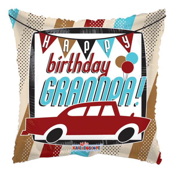 "Kaleidoscope Folienballon ""Happy Birthday Grandpa - Auto"" 43cm/17"""