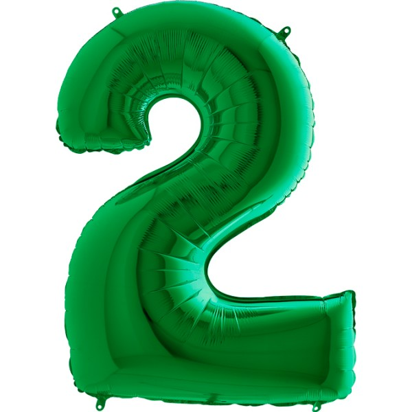 "Grabo Folienballon Zahl 2 Green 100cm/40"""