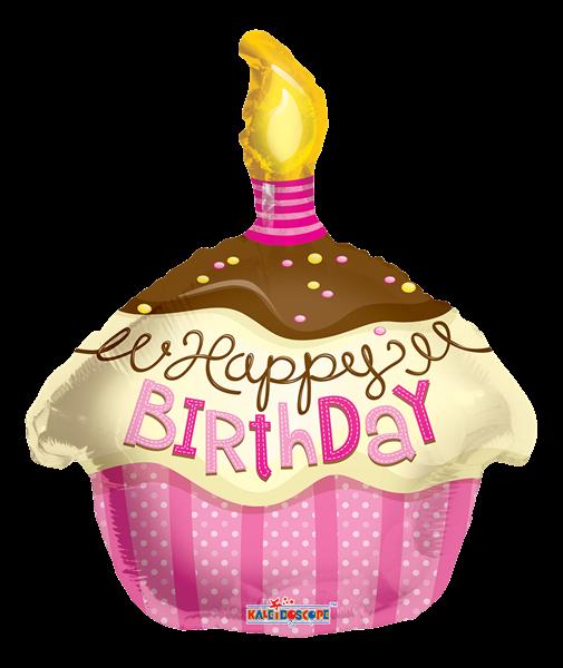 "Kaleidoscope Folienballon ""Happy Birthday - Pinker Cupcake"" 45cm/18"""