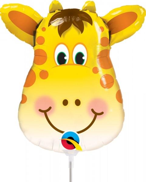 "Qualatex Folienballon Jolly Giraffe 35cm/14"" luftgefüllt mit Stab"