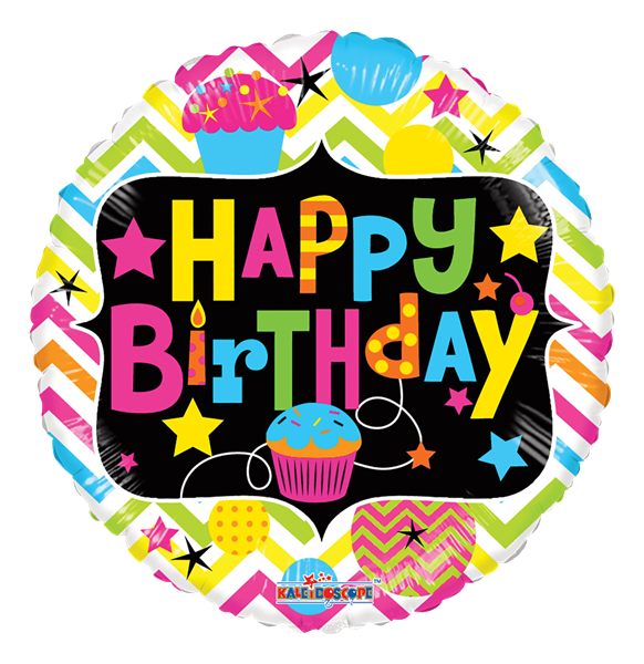 "Kaleidoscope Folienballon ""Happy Birthday - Bunte Cupcakes"" 45cm/18"""