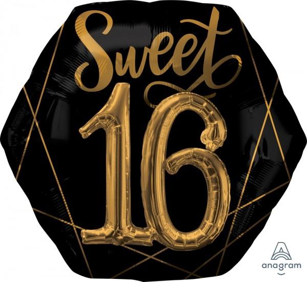 "Anagram Folienballon ""Sweet 16"" Schwarz & Gold 75cm/30"""