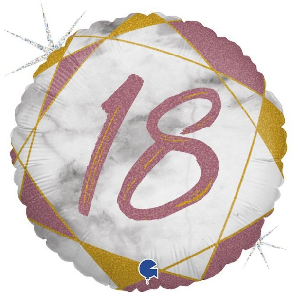 "Grabo Folienballon Marble Mate Zahl 18 Rund 46cm/18"""