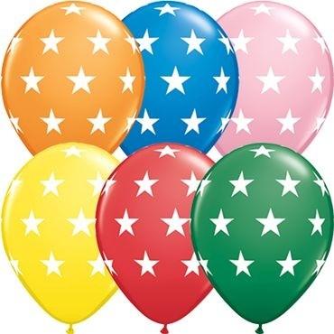 """Qualatex Latexballon Big Stars Standard Assorted 28cm/11"""" 50 Stück"""