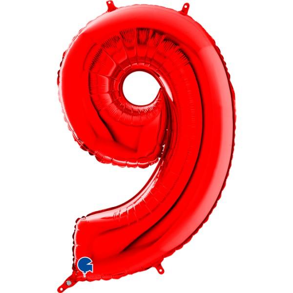 "Grabo Folienballon Zahl 9 Red 66cm/26"""
