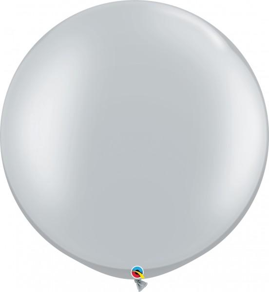"Qualatex Latexballon Metallic Silver 75cm/30"" 2 Stück"