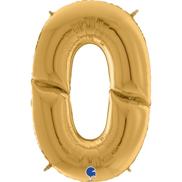 "Grabo Folienballon Zahl 0 Gold 160cm/64"""