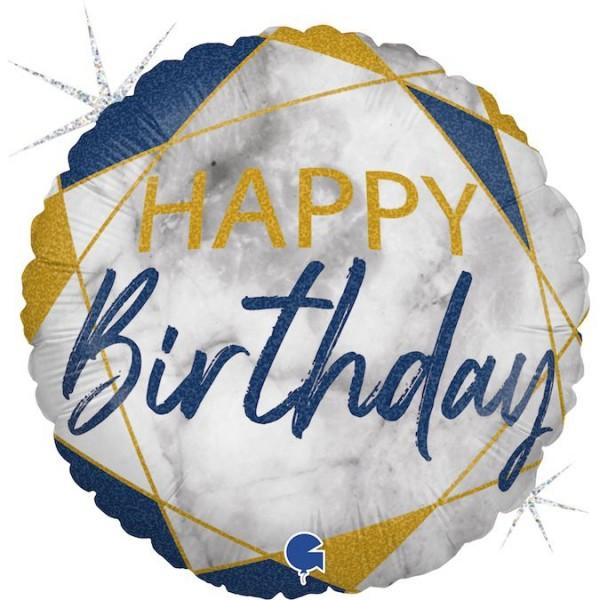 "Grabo Folienballon Marble Mate Happy Birthday Rund 46cm/18"""