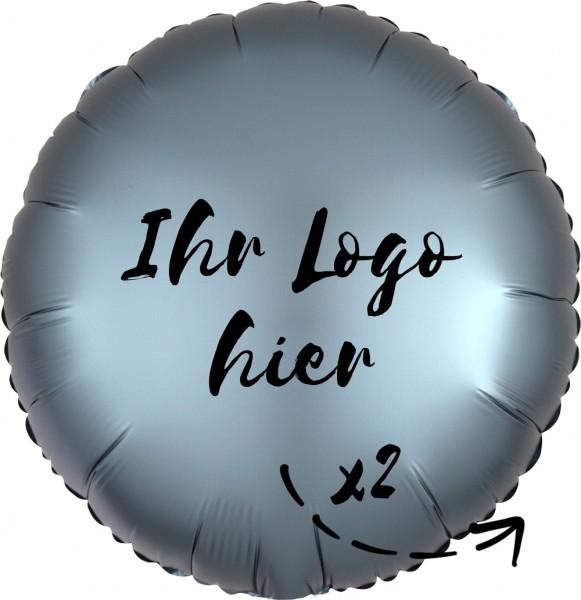 """Folien-Werbeballon Rund Satin Luxe Steel Blue 45cm/18"""" 2-Seitig bedruckt"""