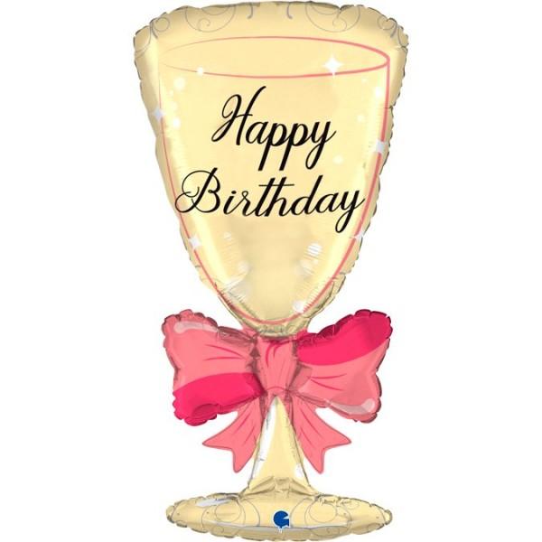"""Grabo Folienballon 91cm/36"""" Happy Birthday Sektglas"""