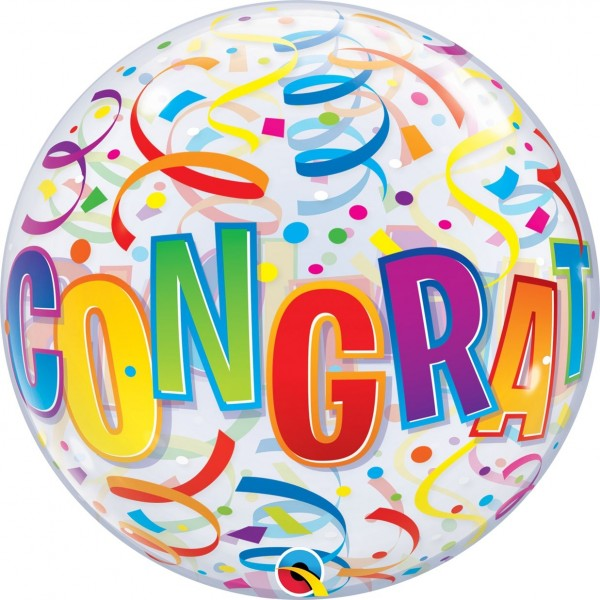 "Qualatex Bubbles Congratulations Around 55cm/22"""
