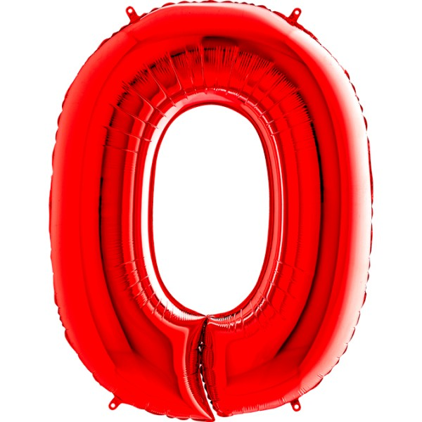 "Grabo Folienballon Zahl 0 Red 100cm/40"""