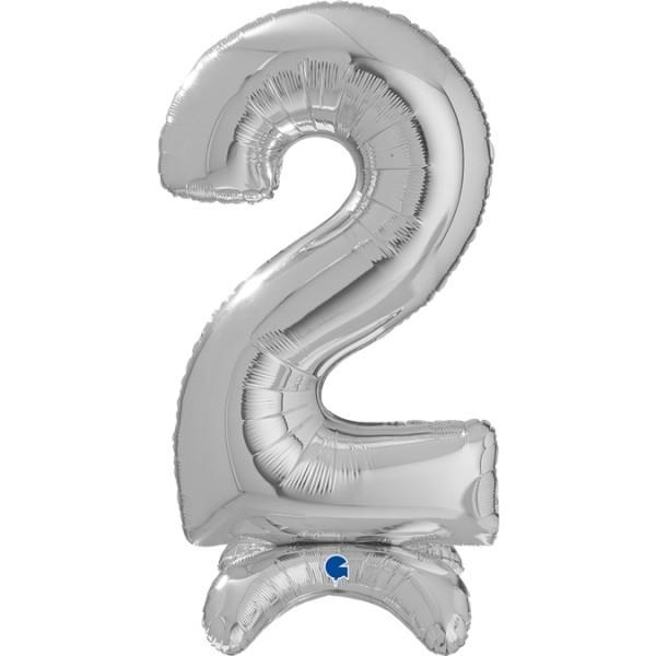 "Grabo Folienballon Zahl 2 Silver standups 64cm/25"""