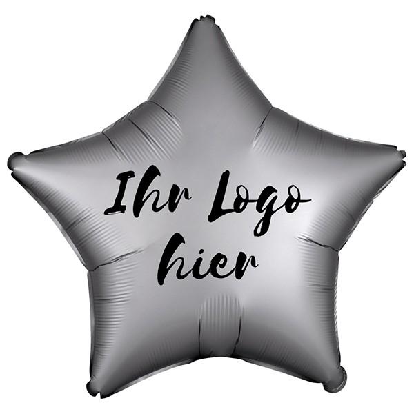 "Folien-Werbeballon Stern Satin Luxe Platinum 50cm/20"" 1-Seitig bedruckt"