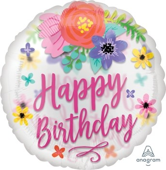 "Anagram Folienballon Rund 70cm Durchmesser ""Happy Birthday"" Konfetti Blumen (Confetti Floral Fun)"
