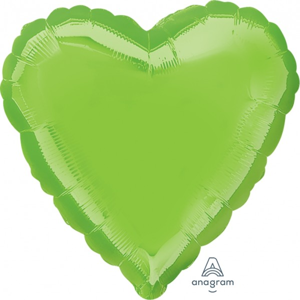 Anagram Folienballon Herz Iridescent Lime Green 45cm/18""