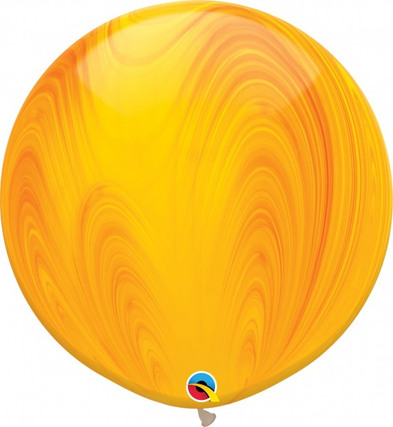 "Qualatex Latexballon Yellow Orange Rainbow SuperAgate 75cm/30"" 2 Stück"