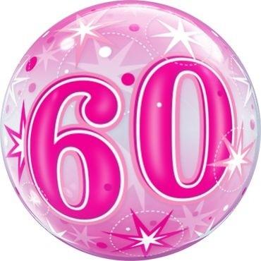 """Qualatex Bubbles 60 Pink Starburst Sparkle 55cm/22"""""""
