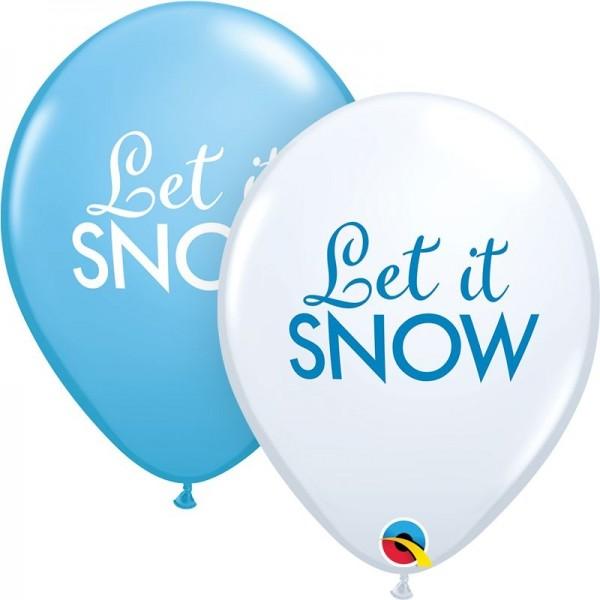 "Qualatex Latexballon Simply Let it Snow White & Robin's Egg Blue 28cm/11"" 25 Stück"