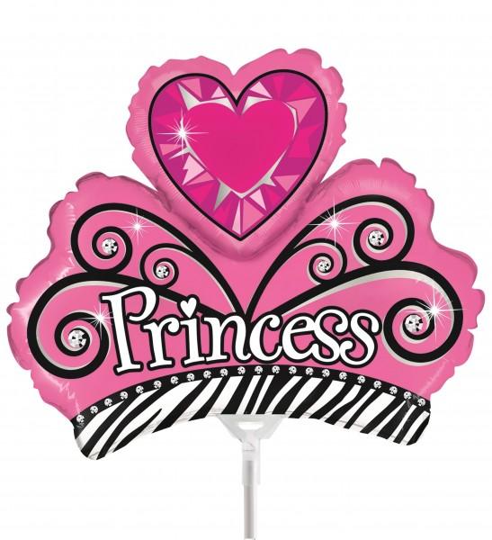 """Betallic Folienballon Princess Tiara Mini 23cm/9"""" luftgefüllt mit Stab"""