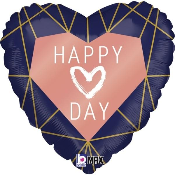 """Grabo Folienballon Happy Day Navy Heart 45cm/18"""""""