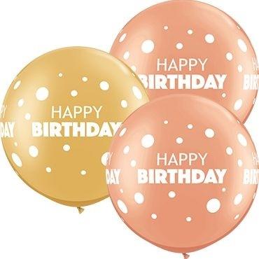 Qualatex Latexballon Birthday Big & Little Dots Ass. Rose Gold & Gold 90cm/3' 2 Stück