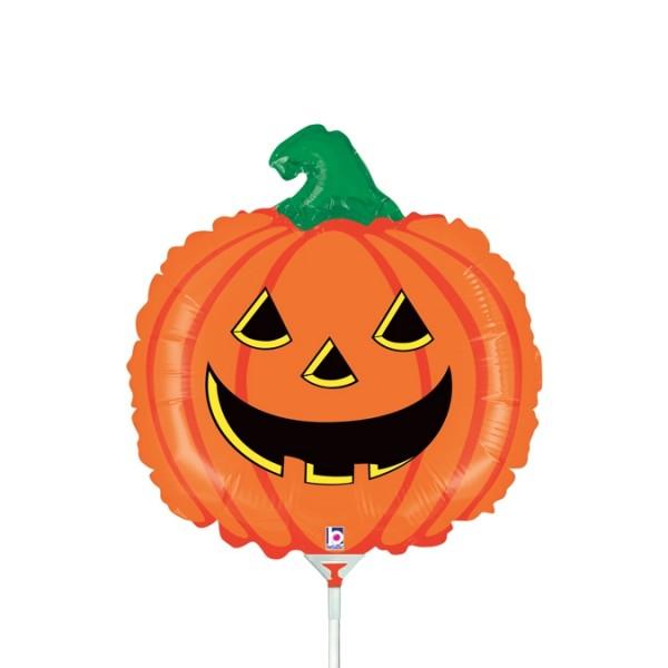 """Grabo Folienballon Pumpkin Mini 35cm/14"""" luftgefüllt mit Stab"""