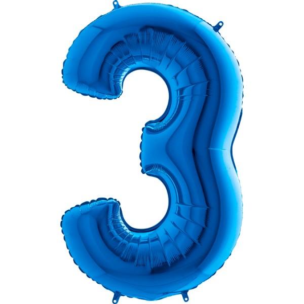 "Grabo Folienballon Zahl 3 Blue 100cm/40"""