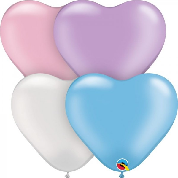 "Qualatex Latexballon Pearl Heart Assortment 15cm/6"" 100 Stück"