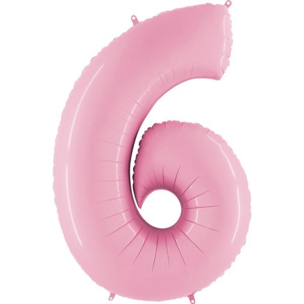"""Grabo Folienballon Zahl 6 Pastel Pink 100cm/40"""""""