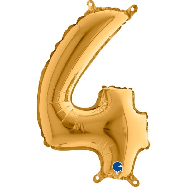 "Grabo Folienballon Zahl 4 Gold 36cm/14"""