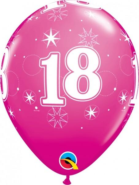 "Qualatex Latexballon Age 18 Stars Pink 28cm/11"" 6 Stück"
