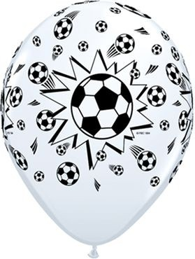 "Qualatex Latexballon Soccer Balls White 28cm/11"" 6 Stück"