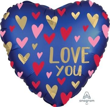 Anagram Folienballon Satin Herz 60cm Durchmesser Love You Blau & Gold (Navy & Gold)