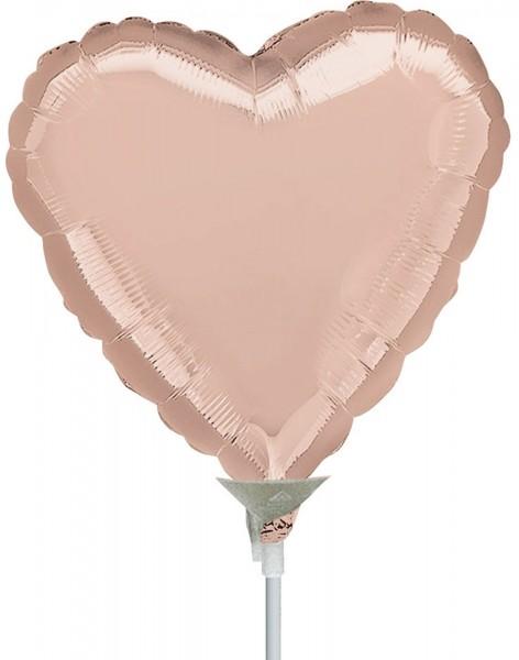 """Anagram Folienballon Rose Gold Heart 23cm/9"""" luftgefüllt inkl. Stab"""