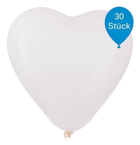 Weiße Herzluftballons 33cm 30 Stück