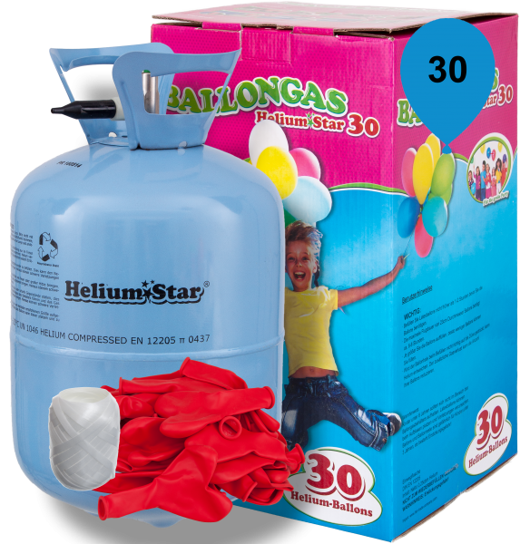 Luftballon Helium Set: Helium & 30 Rote Latex-Herzballons