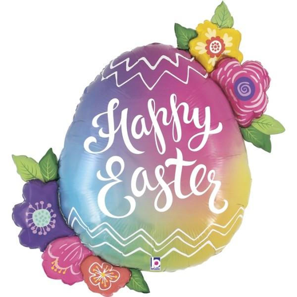 """Betallic Folienballon Easter Egg Flowers 90cm/35"""""""