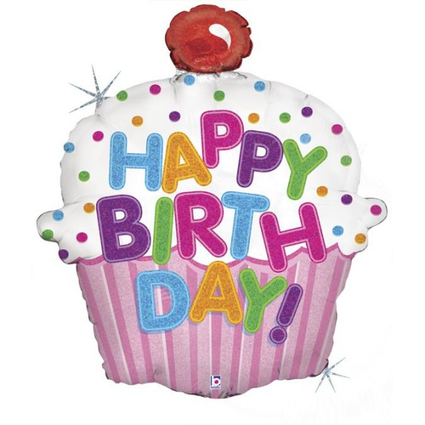 "Betallic Folienballon Happy Birthday Cupcake Holographic 79cm/31"""