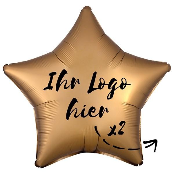"""Folien-Werbeballon Stern Satin Luxe Gold 50cm/20"""" 2-Seitig bedruckt"""