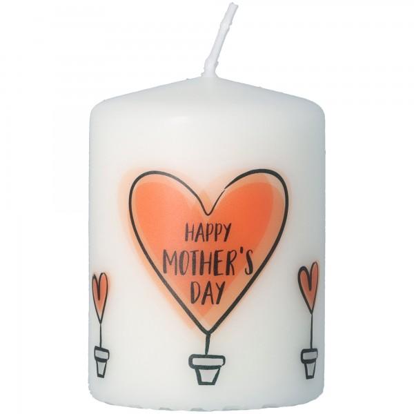 "Goodtimes Stumpenkerze Weiß ""Happy Mother's Day"""