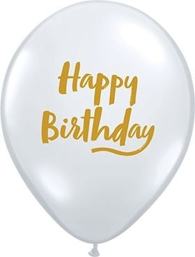"Qualatex Latexballon Birthday Brush Script Diamont Clear 28cm/11"" 25 Stück"