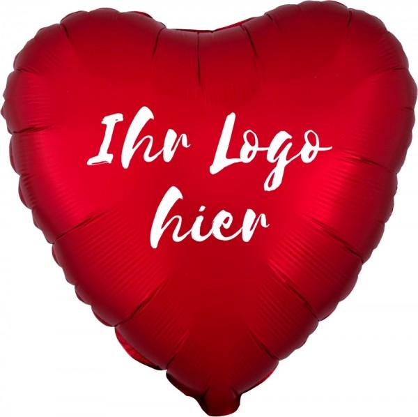 "Folien-Werbeballon Herz Satin Luxe Sangria 45cm/18"" 1-Seitig bedruckt"